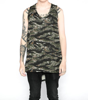 2017 TOPS New hiphop men's exercise clothes sleeveless camo Cotton shirts mens singlets long tank top camouflage vest