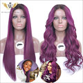 5A 180 Density Glueless Lace Front Human Hair Wig/ Purple Curly Human Hair Lace Wig With Baby Hair For Black Women