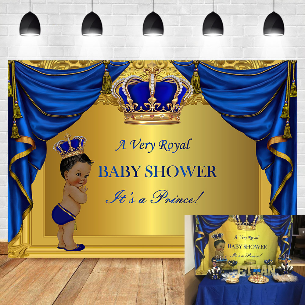 NeoBack Royal Blue Prince Baby Shower Backdrop Photography Background Vinyl Party Banner