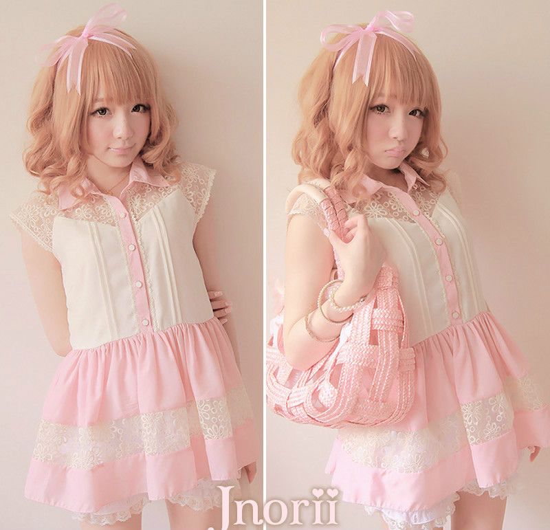 Doux lolita blouse BOBON 21 princesse rose royal gentlewoman dentelle crochet patchwork long la proportion de mousseline haut t0810