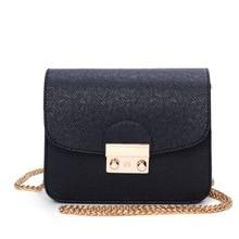 2019 PU Leather Women Messenger Bag Metal Lock Ladies Crossbody Bag Chain Trendy Candy Color Small Flap Shopping Handbag color block flap chain bag