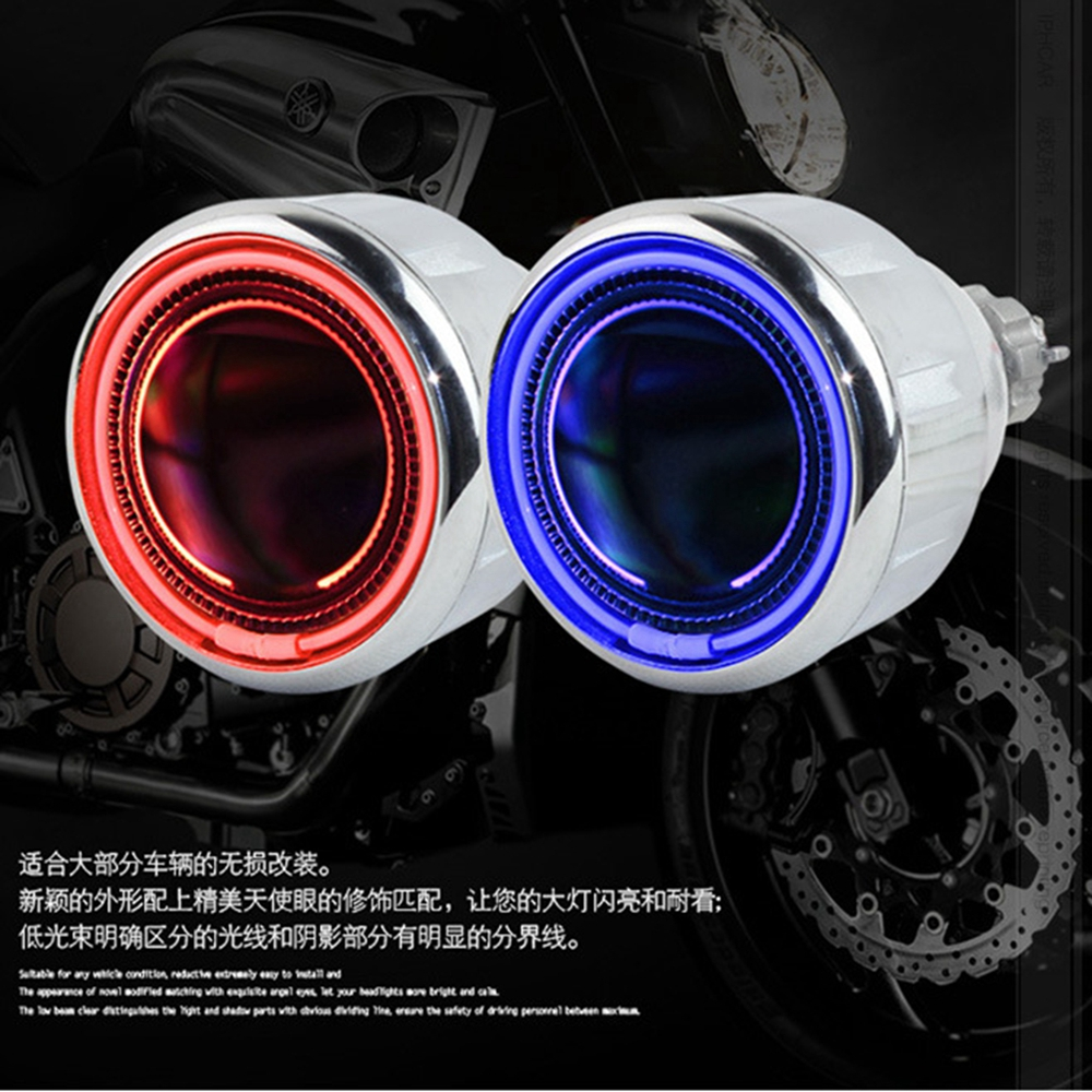 2.0 inch HID Bi-xenon Projector Lens Headlight Headlamp Spotlight With CCFL Angel Eye Halo For H1 H4 H7 Motorcycle Accessories 13a 2inch h4 bixenon hid projector lens motorcycle headlight yellow blue red white green ccfl angel eye 1 pc slim ballast