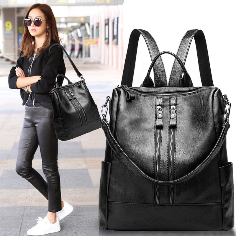 2019 Women Backpack Genuine Cow Skin Daypack Fashion Backpacks Female Mochila Feminine Casual Large Capacity Vintage