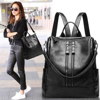 2019 Women Backpack Genuine cow skin Daypack Fashion Backpacks Female Mochila Feminine Casual Large Capacity Vintage