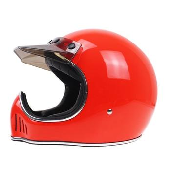 Fiberglass Light weight Motorcylcle helmet hand made Vintage full face helmet Street bike chopper bike helmet with visor