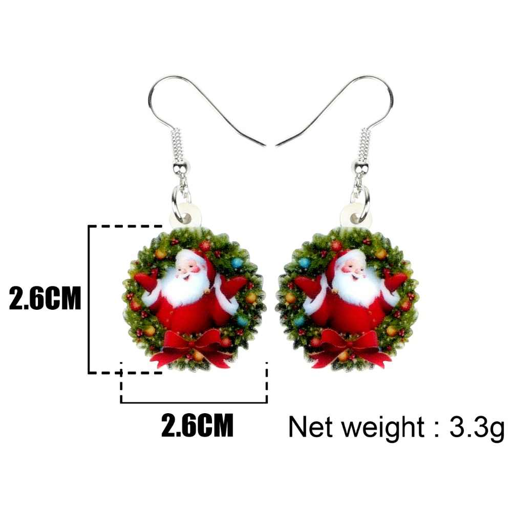 Bonsny Acrylic Christmas Sweet Santa Claus Garland Earrings Drop Dangle Party Gift Jewelry For Women Girls Teens Ornaments 2018