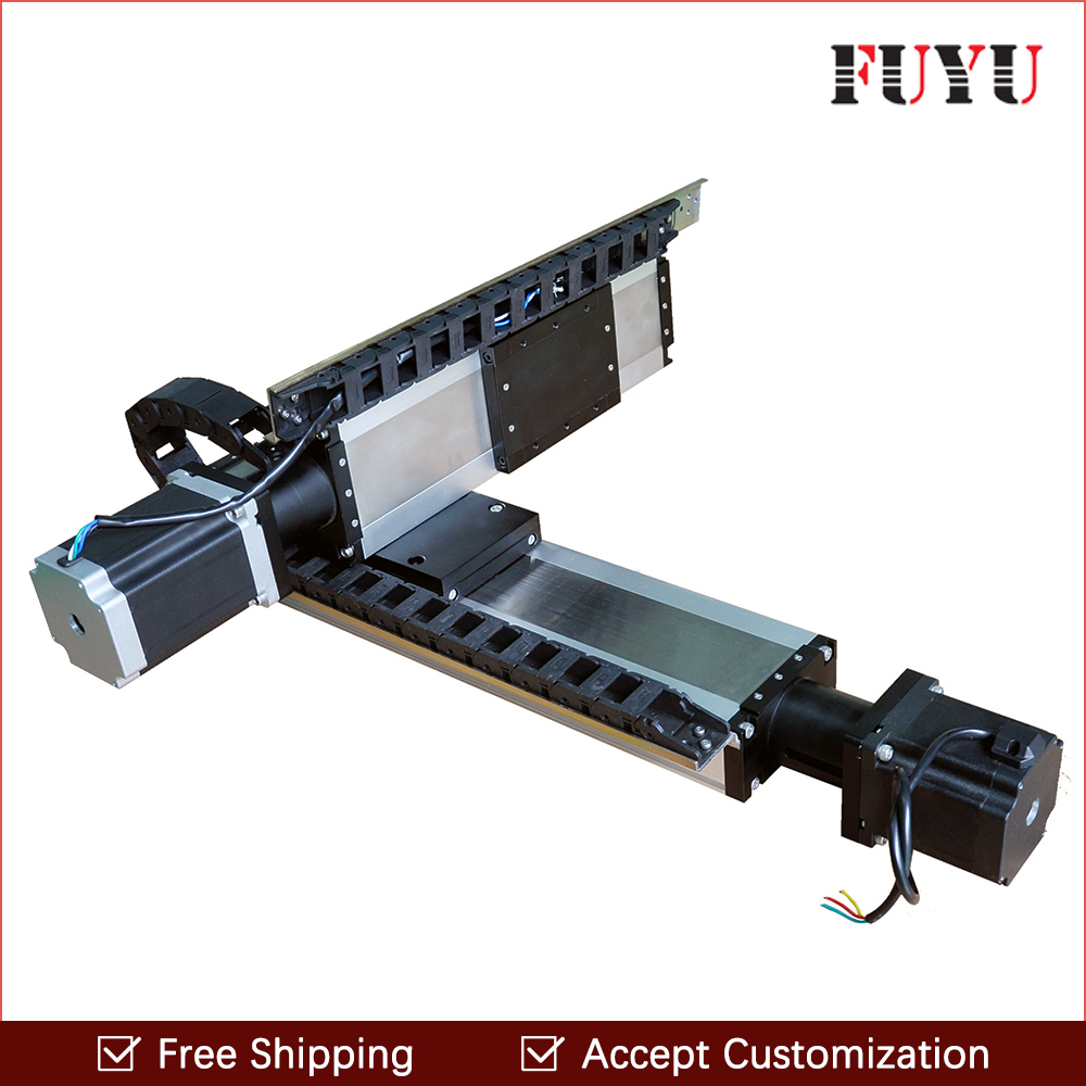 Free shipping factory sale 120mm width 100x100mm ball screw motorized linear module XY table with stepper motor toothed belt drive motorized stepper motor precision guide rail manufacturer guideway