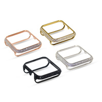 18kt bling platinum crystal rhinestone diamond jewelry case bezel cover for Apple Watch 38mm 42mm series 3 2 1