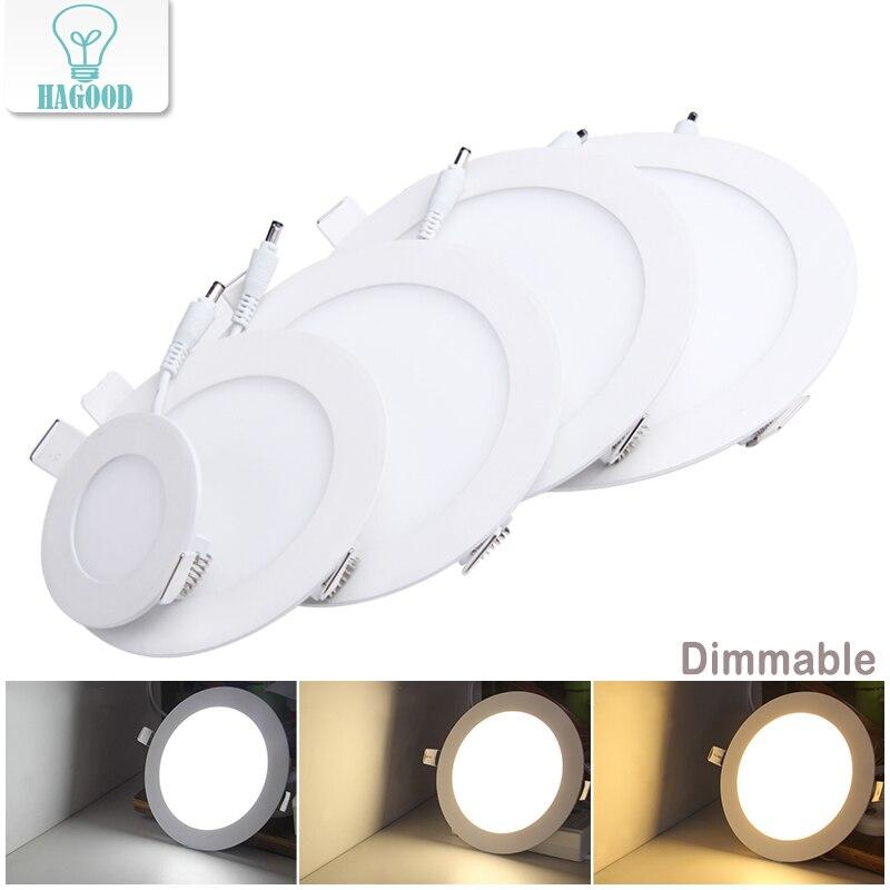 ניתן לעמעום דק אמיתי מלא Power LED פנל מנורת תקרת Downlight LED 3 W/4 W/6 W/9 W/12 W/15 W/18 W/24 W חם/קר לבן