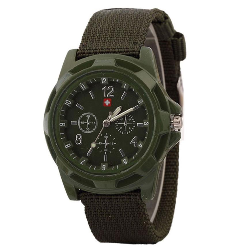 Men Weave Nylon Band Arabic Numerals Dial Calendar Analog Quartz Wrist Watch 2018new Watches Men's Watches