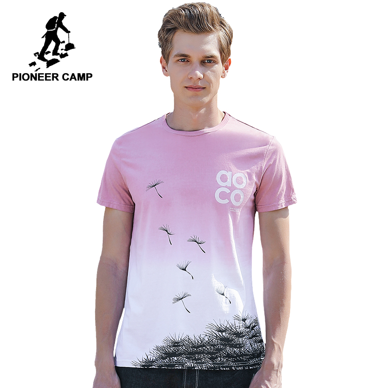 Pioneer Camp fashion design   T  -  shirt   men brand-clothing summer gradient   T     shirt   male quality 100% cotton Tshirt