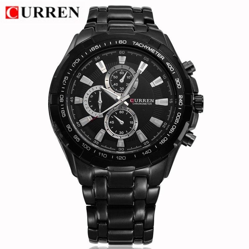 2018 Curren Mens Watches Top Brand Luxury Black Steel Analog Quartz Watch Waterproof Military Sport Male Clock Relogio Masculino