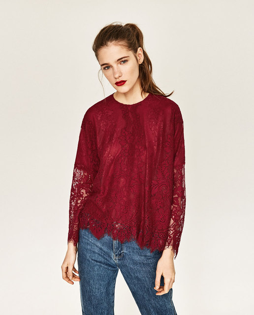 Women Shirts 2016 Top One O-Neck Long Sleeve Hollow Out Solid Color Lace Supreme  Shirt Top OYK6010 6c2a3330e1