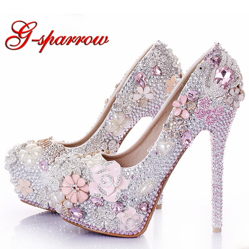 Gorgeous Rhinestone Flower Pink Wedding Shoes Stiletto Heel 14cm Crystal Bridal Prom Bridesmaid Shoes for Mermaid Wedding DressGorgeous Rhinestone Flower Pink Wedding Shoes Stiletto Heel 14cm Crystal Bridal Prom Bridesmaid Shoes for Mermaid Wedding Dress