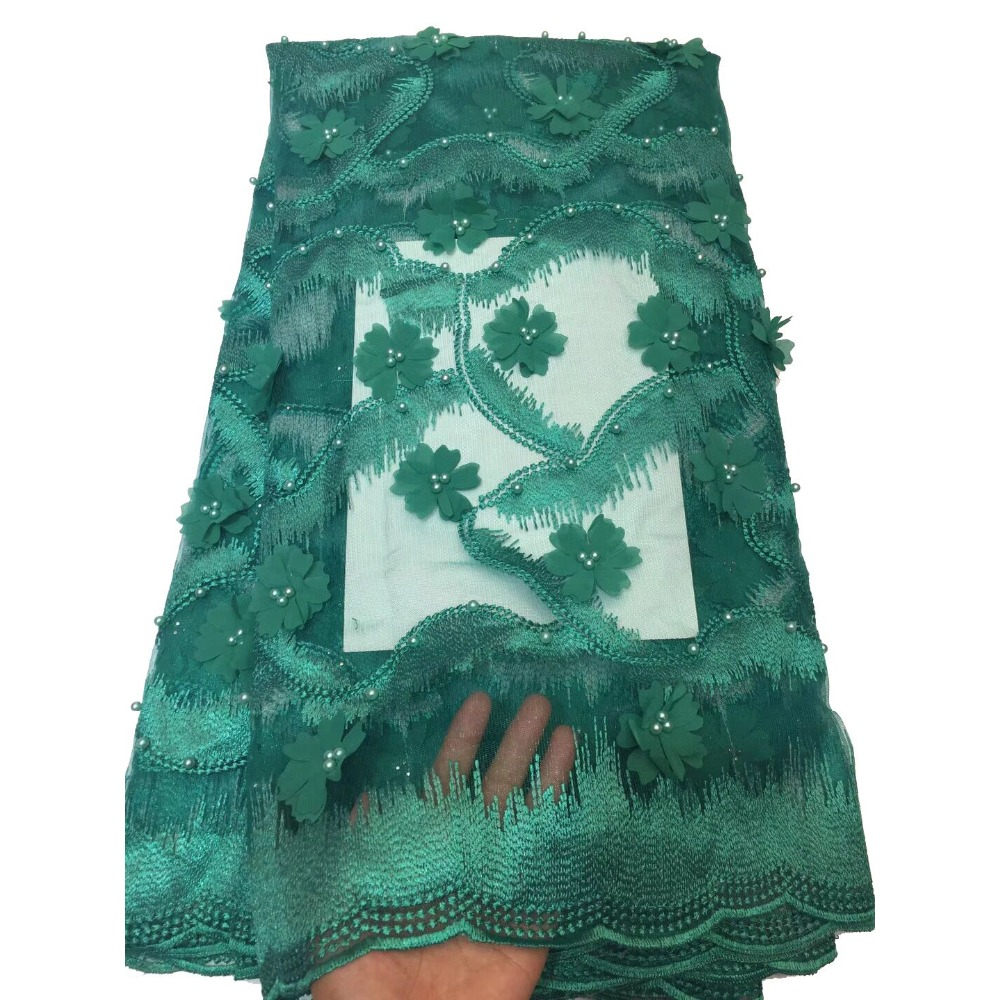 Nigerian Latest Lace Fabric 2018 High Quality Lace Green Skirt Flower Bead LaceNigerian Latest Lace Fabric 2018 High Quality Lace Green Skirt Flower Bead Lace