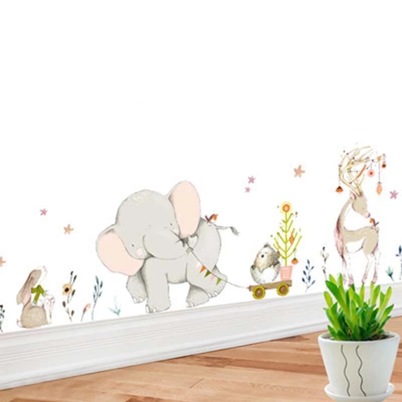 Cartoon Forest Flowe Elephant Rabbit Giraffe Animal Wall Stickers Kids Room Decoration Vinyl Wallpaper Baby Bedroom Wall Decals Wall Stickers Aliexpress