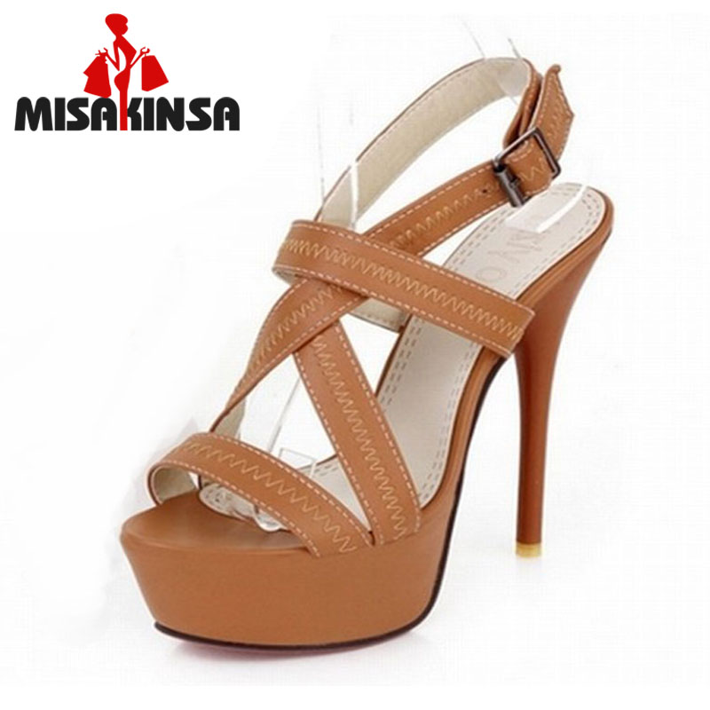 34-43 Sexy Cross tie Open toe Gladiator Sandals 2016 Red Bottoms High Heels Platform Shoes woman sandals summer Woman Shoes