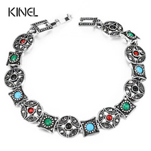 Kinel 2017 New Bohemia Bracelets Bangles Silver Color Multicolor Resin Cuff