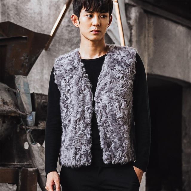 VR063 men's genuine real sheep fur wool vest winter warm real one fur jacket /jackets