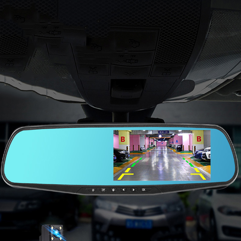 4 3 inch car dvr camera rearview mirror double lens electronic dog high definition night vision. Black Bedroom Furniture Sets. Home Design Ideas