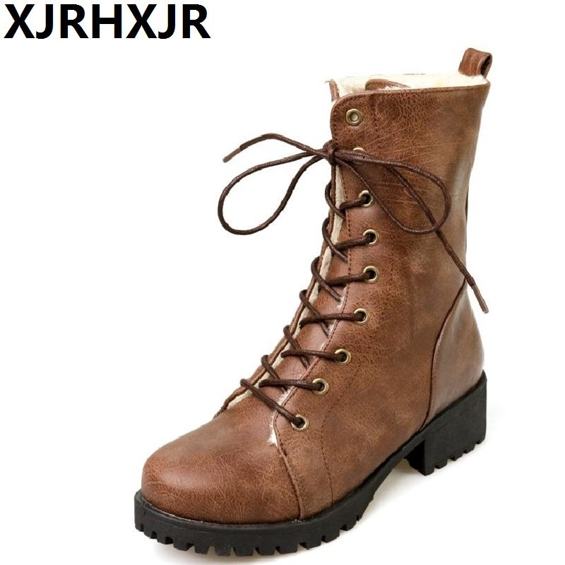 XJRHXJR British Style Women Boots Autumn Winter Warm Shoes Russia Snow Boots Round Toe Thick Heel Lace Up Mid-calf Boots Black 2017 new lace beanies hats for women skullies baggy cap autumn winter russia designer skullies