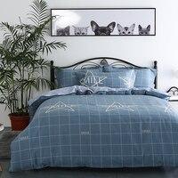 Простой в европейском Стиль голубой сетки со звездами домашний текстиль постельное белье 4 шт. Рождество Постельное бельё хлопковое постел