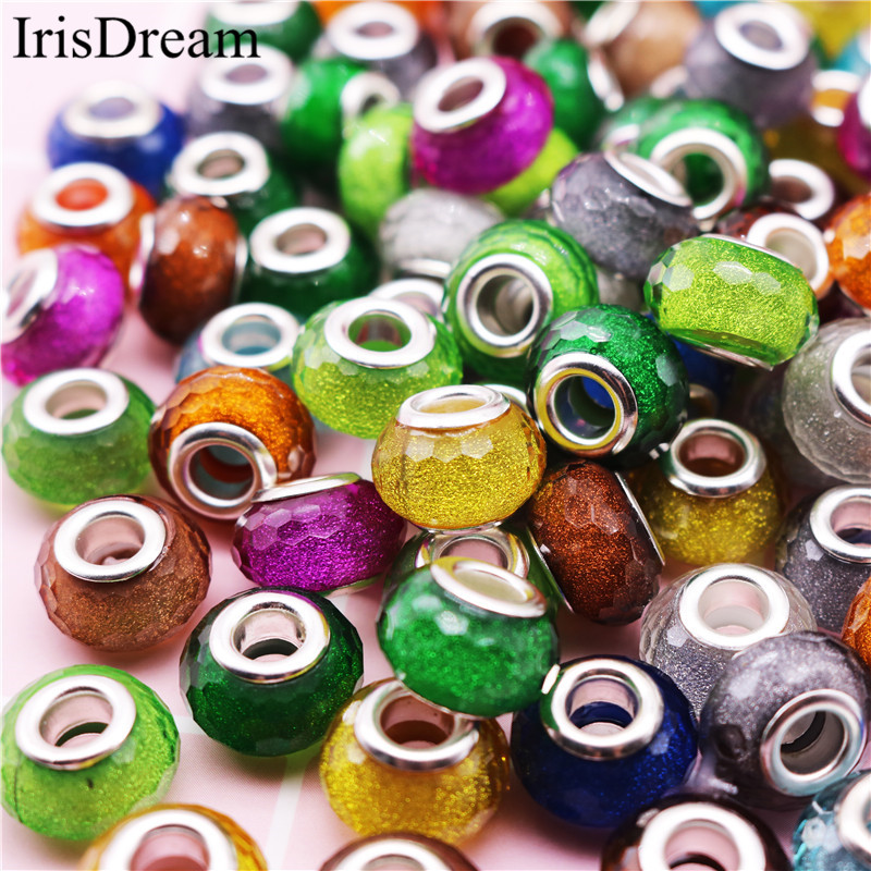 New 50PCS Lot Gold Powder Dust Cut Faceted Plastic Resin Murano Glass Beads Fit Pandora Charms Bracelet For DIY Jewelry Making