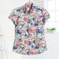 Короткие Рукава Женщины Блузки 2017 Цветочные Вишня Рубашка Женщины Топы И Блузки Лето Повседневная Чешские Пляж Рубашки Плюс Размер Топы