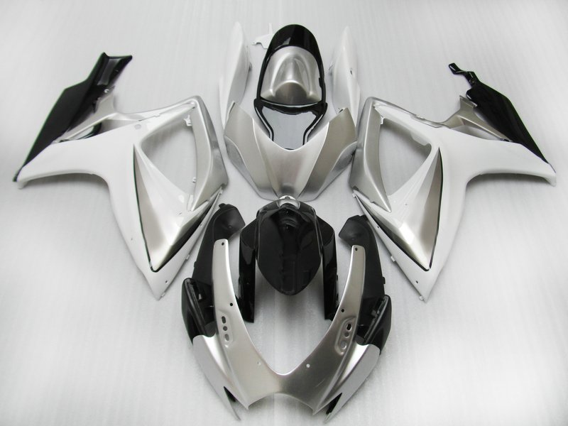 Upgrade Injection <font><b>Fairing</b></font> kits for Suzuki <font><b>GSXR</b></font> <font><b>600</b></font> 06 07 K6 GSXR600 750 motorcycle ABS <font><b>fairings</b></font> GSXR750 <font><b>2006</b></font> 2007 silver bodykit image
