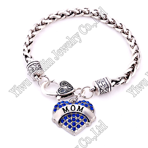 for Mom Engraved White Crystal Adorned Heart Charm Lobster Claw Bracelet