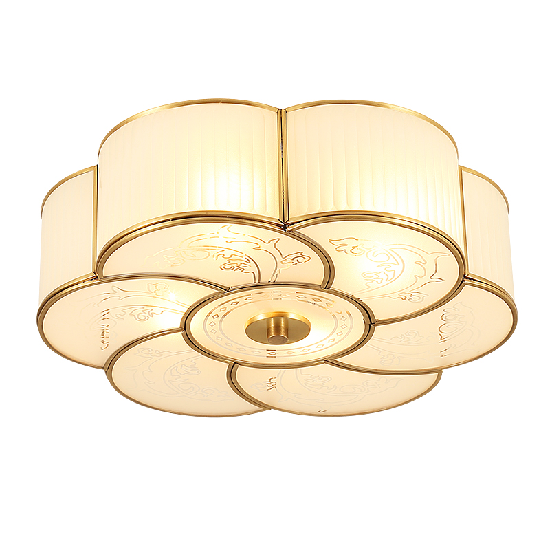 American full copper ceiling lamp flower shape living room dining room balcony Pendant lamps European glass lighting fixture