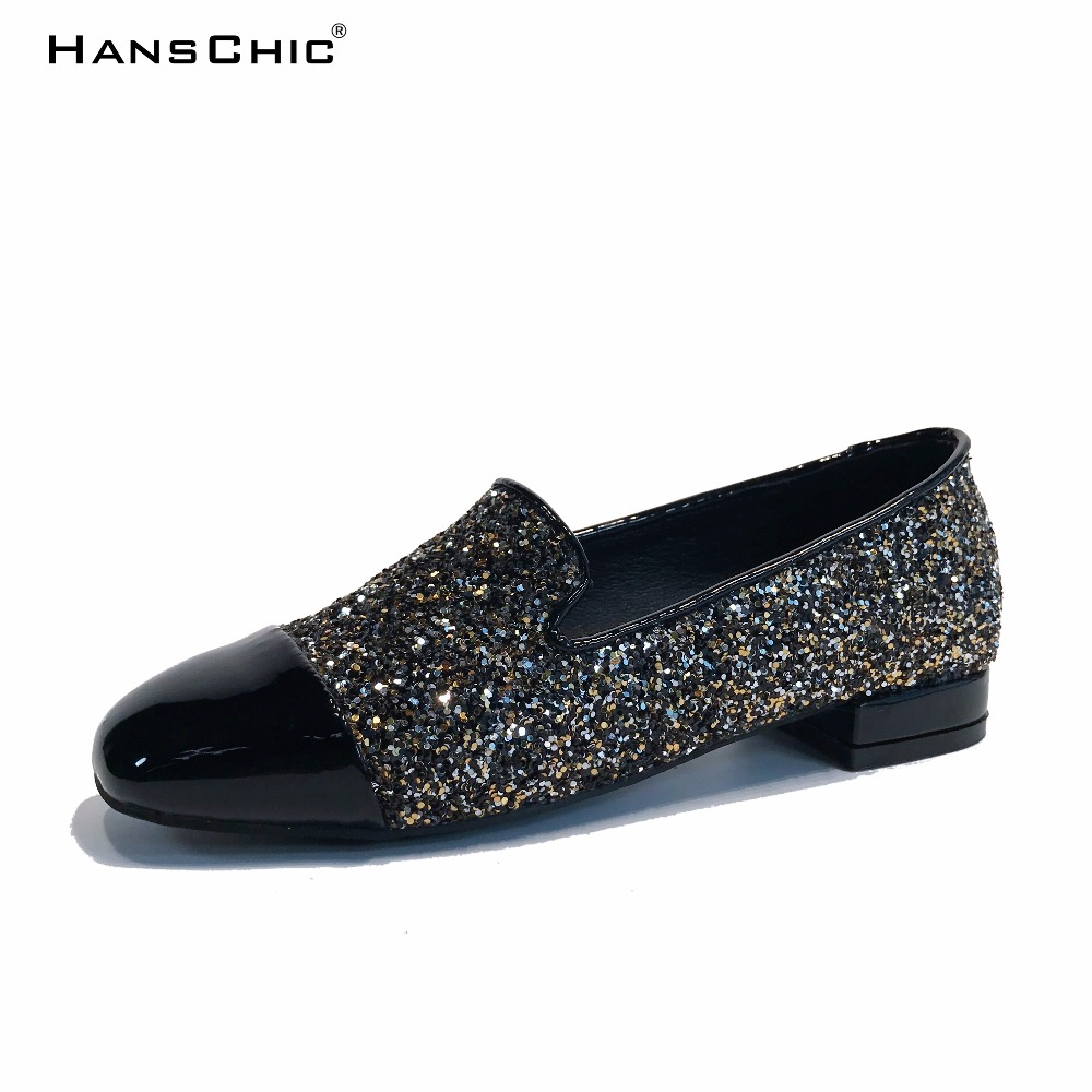 HANSCHIC 2018 Spring New Arrival Golden Bling Sequins Design Retro Slip on Lady Womens Low Heels Pumps Shoes for Female HB1823 hanschic 2018 spring new arrival houndstooth design retro slip on lady womens med heels pumps shoes for female 001