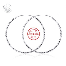 hot deal buy new arrive 2cm--6.5cm 925 sterling silver circle hoop earrings fashion fine jewelry accessories for women