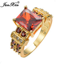 Fashion Red & Crystal Zircon Engagement Rings For Men 10KT Yellow Gold Filled Vintage Retro Red Jewelry RY0190(China)