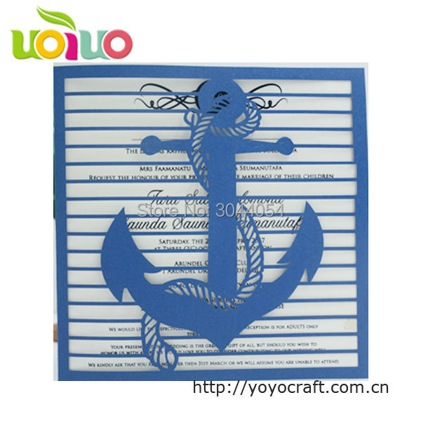 US $31 5 |Royal blue laser cut wedding invitation card fan baby shower  invitation cards free name logo baby naming ceremony invitations-in Cards &