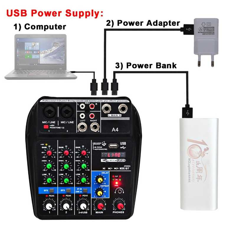 Eu Plug A4 konsola miksująca dźwięk bluetooth Usb nagrywanie komputera odtwarzanie 48V Phantom opóźnienie zasilania Repaeat efekt 4 kanały Usb A