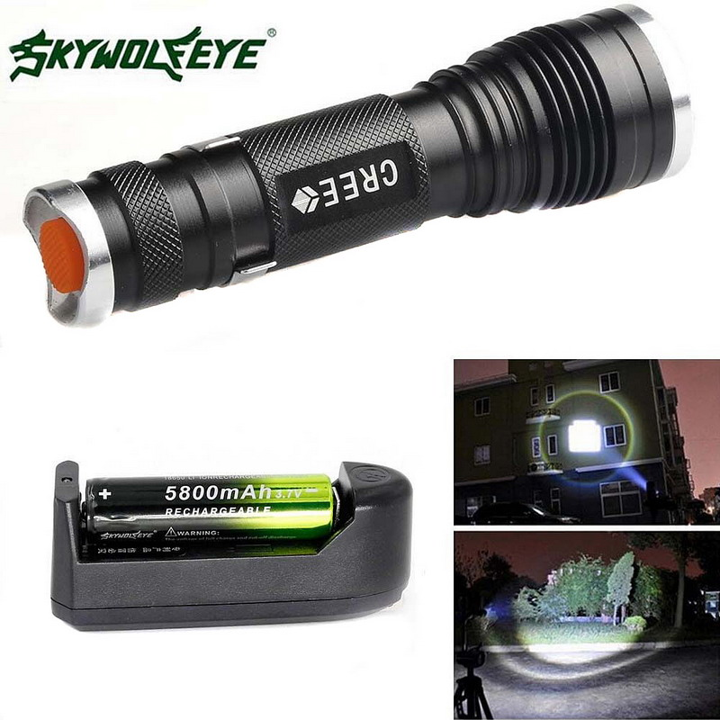1Pc Camping Outdoor Tactical Flash lights  2500 LM 3 Modes  XML T6 LED Light Mini Zoom Flashlight 18650&Charger T2 удлинитель zoom ecm 3