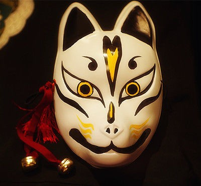 Japanese Fox Mask Demon Kitsune Cosplay Half Face Hand-Painted Masquerade New