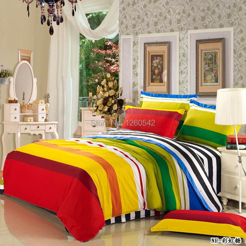 Multi Coloured Horizontal Stripes Rainbow Bedding Set Bed Sheet Pillow Case Duvet Cover 100 Cotton 4pcs In Sets From Home Garden On