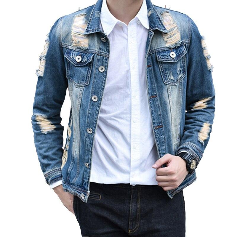 2017 Denim Jacket Men Casual Fashion hole Jeans Jackets Cowboy Mens Jackets Coats Man Coat Chaquetas