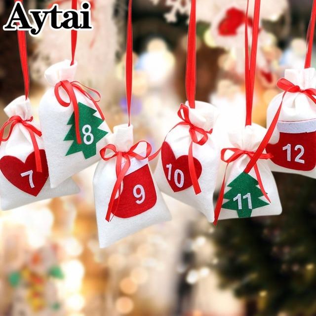 aytai 2431 days hanging pull flag diy christmas advent calendar gift bags happy new