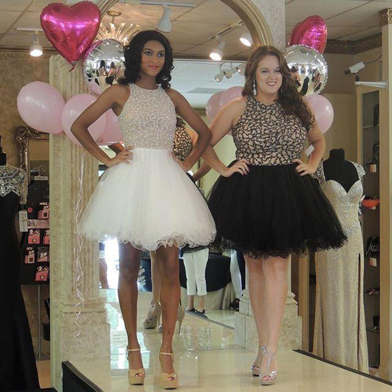 253891fb0b Summer Style Luxury Mini Crystal Cocktail Dresses White Or Black Lace  Cocktail Dress Rhinestone Plus Size Beaded Party Gowns