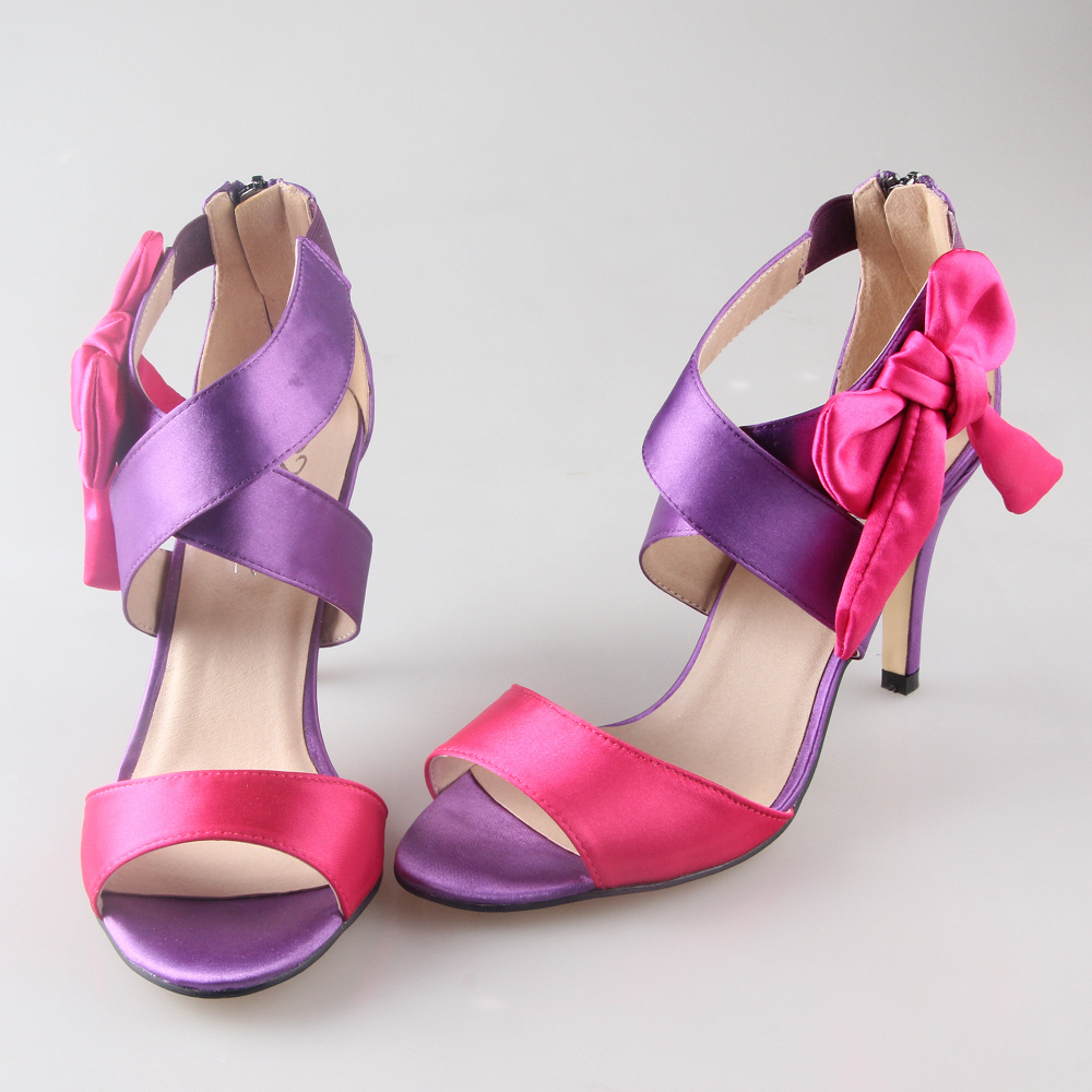 ФОТО Sweet satin crossed band bow sandals two colors assorted bridal shoes wedding party prom hotpink purple custom colors bowknot