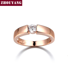 ZHOUYANG 4.5mm Hearts and Arrows AAA+ CZ Wedding Ring Rose Gold & White Gold Plated Classical Finger Ring R400 R406