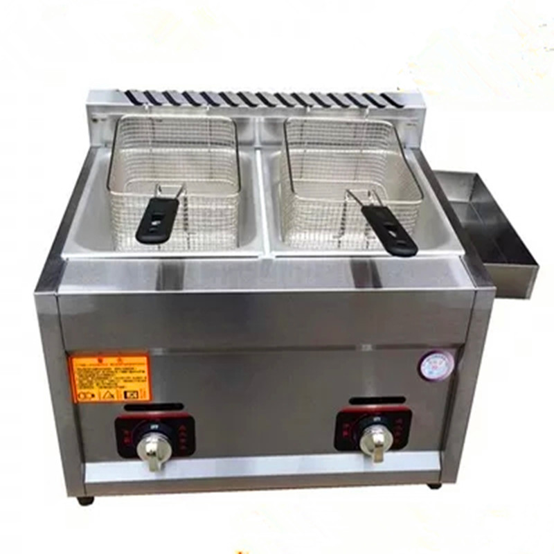 Commercial gas heating deep fryer double-cylinder deep frying machine potato chip chicken fryer ZF цена и фото