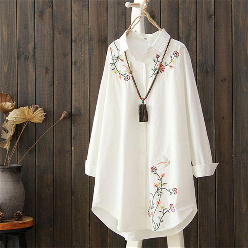 2019 printemps automne femmes brodé fleur Blouse lâche de haute qualité Turn Down col chemise dame grande taille 3XL décontracté hauts Z411
