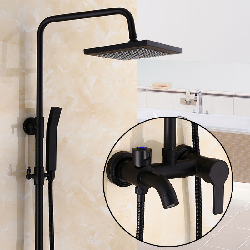 black bronze bathroom 8 rainfall shower faucet set single handle bath shower 3 function mixer taps wall mounted with handshower