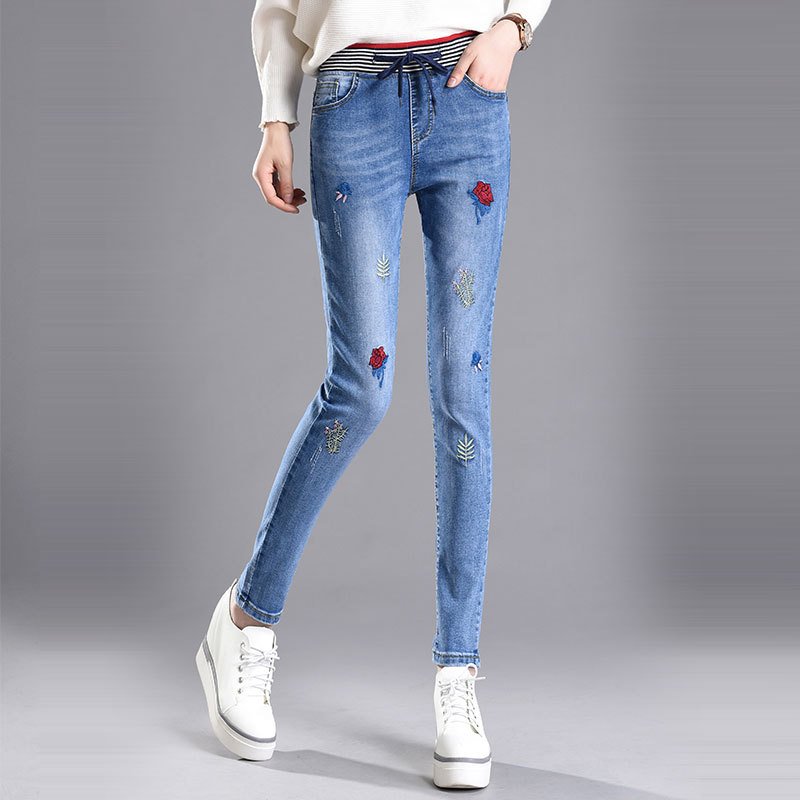 Women High Waist Embroidery Jeans 2017 New European Fashion Female Slim Stretch Denim Pencil Pants Trousers Fit Lady Plus Size 2017 new jeans women spring pants high waist thin slim elastic waist pencil pants fashion denim trousers 3 color plus size