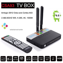 3 ГБ RAM 32 ГБ ROM Android 6.0 TV Box 2 ГБ 16 ГБ Amlogic S912 Octa Ядро CSA93 Потоковое Смарт Media Player Wi-Fi BT4.0 4 К TV box KDOI
