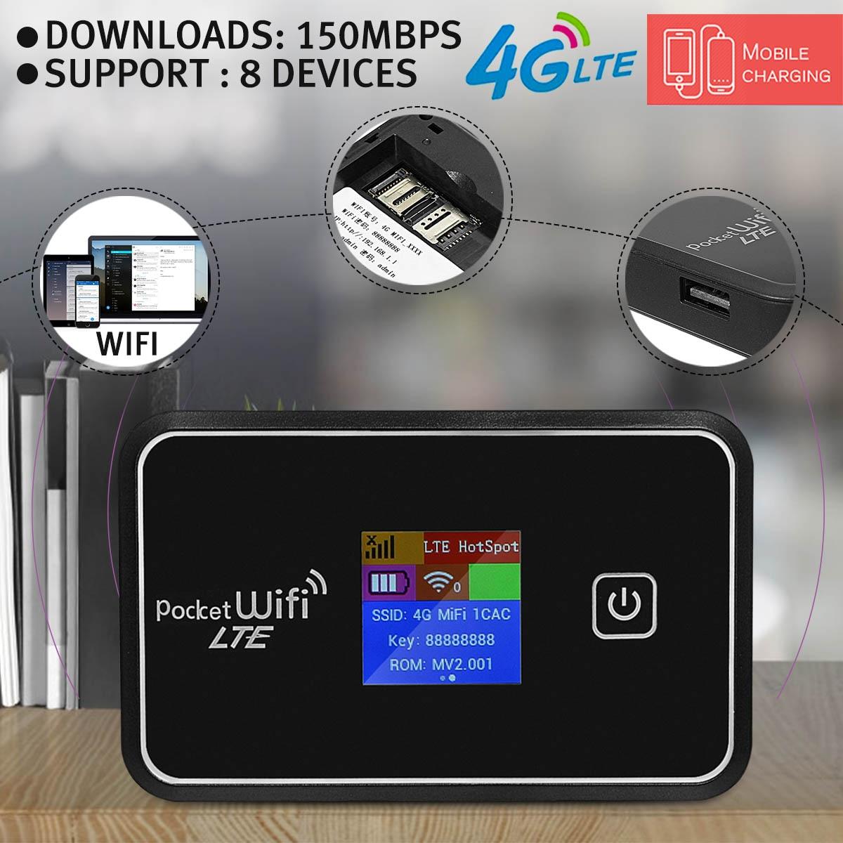 6 en 1 Portable 4G Mobile WiFi Module MIFI sans fil poche point chaud routeur haut débit LCD avec batterie pour smartphone